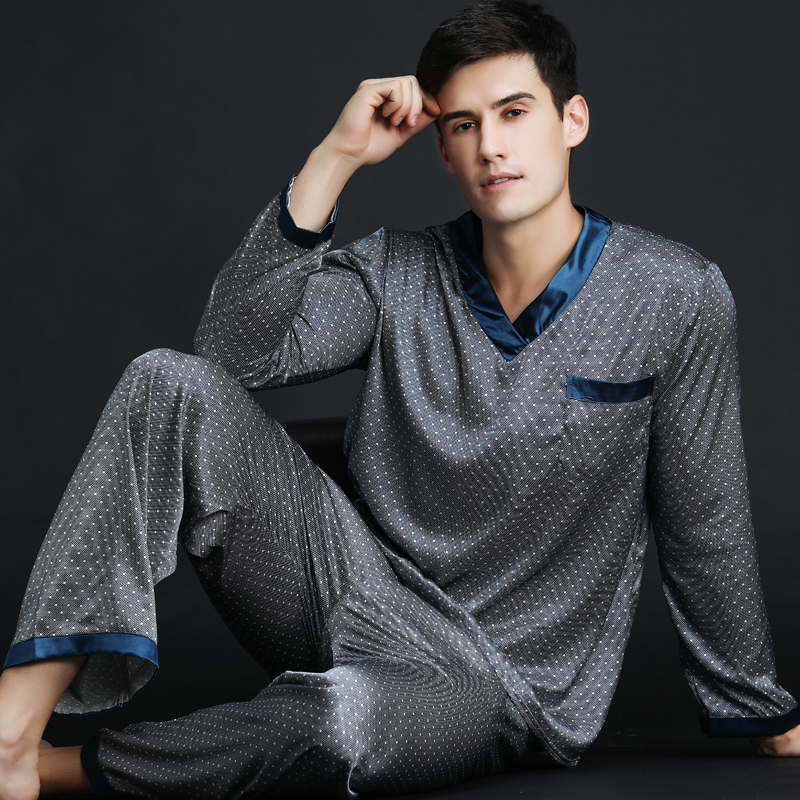 2019 Spring Summer Autumn Men's Satin Silk Pyjamas Set Men Long-Sleeve Male Sexy Sleepwear Leisure Home Clothing Plus Size