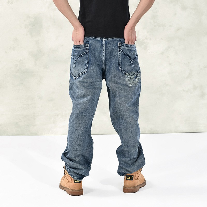 fd7b9154 Brand Men Baggy Jeans Plus Size Mens Hip Hop Jeans Long Loose Fashion  Skateboard Relaxed Fit Jeans Mens Elastic Harem Pants-in Jeans from Men's  Clothing on ...