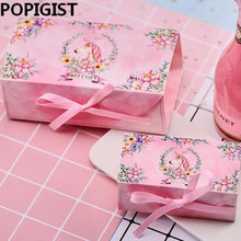 Unicorn Party Candy box Paper Chocolate Cake Box Cookie Candy Nuts gift Box DIY Wedding Gift Packing Box 10pcs lot cake candy hand strap butterfly decorative gifts paper foldable box for apple candy cookie party gifts packing box