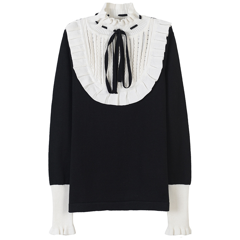 turtleneck sweater pullover and jumper women winter warm slim wool sweater vintage ruffles collar pactchwork sweaters ...