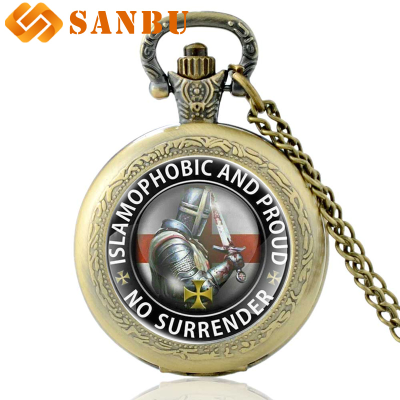 Classic Bronze Knight Templar No Surrender Quartz Pocket Watch Vintage Men Women Necklace Jewelry Gifts