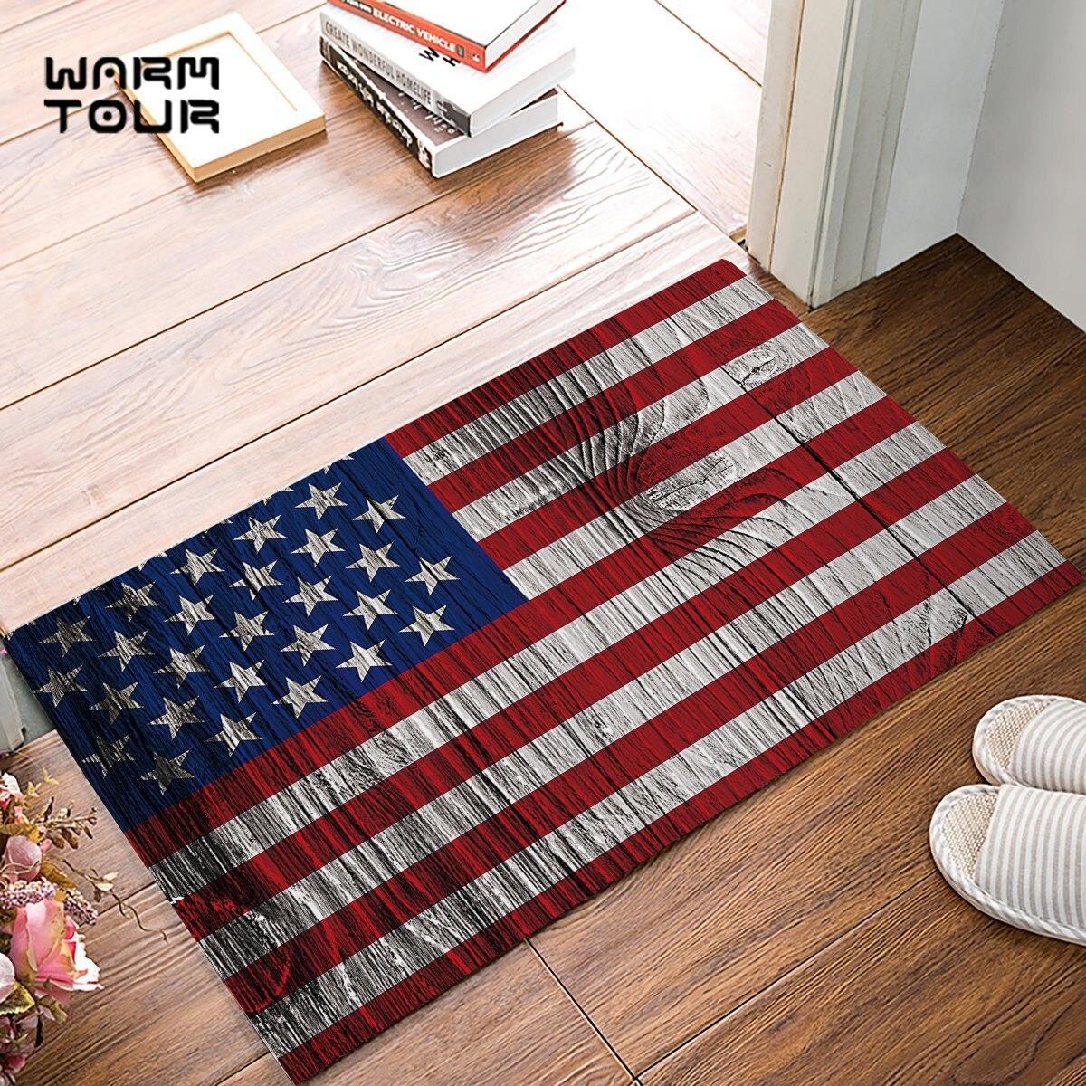 Wood Print American Flag Door Mats Kitchen Floor Bath ...