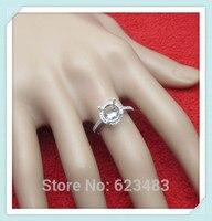 Кольца Solid 14 К белое золото 8 мм круглая огранка природных алмазов полу крепление установка Свадебные
