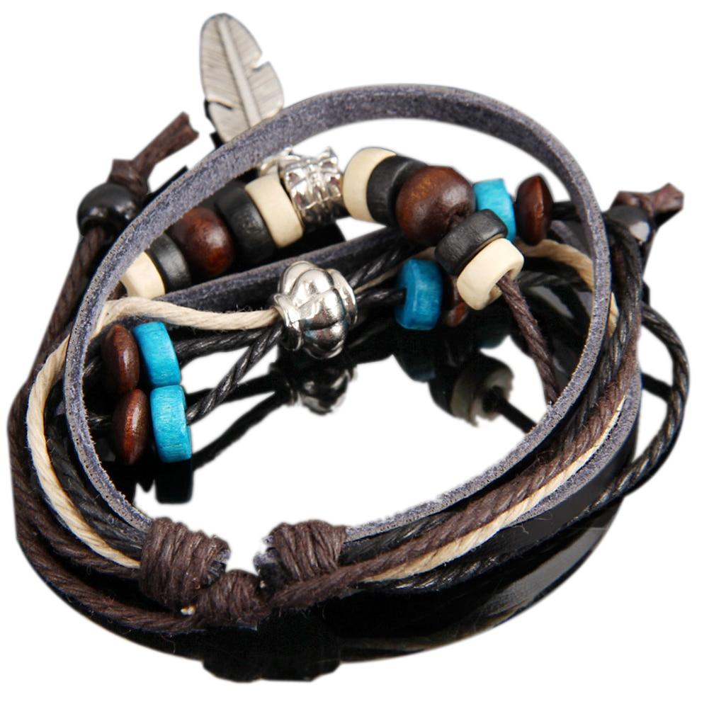 Hot Retro Style Feather Pendant Girl Lady Braid Charm Bracelet String Band Bangle Beads @M23