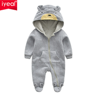IYEAL Cute Bear Ear Hooded Baby Rompers For Babies Boys Girls Clothes Newborn Clothing Infant Costume Baby Jumpsuit Outfits