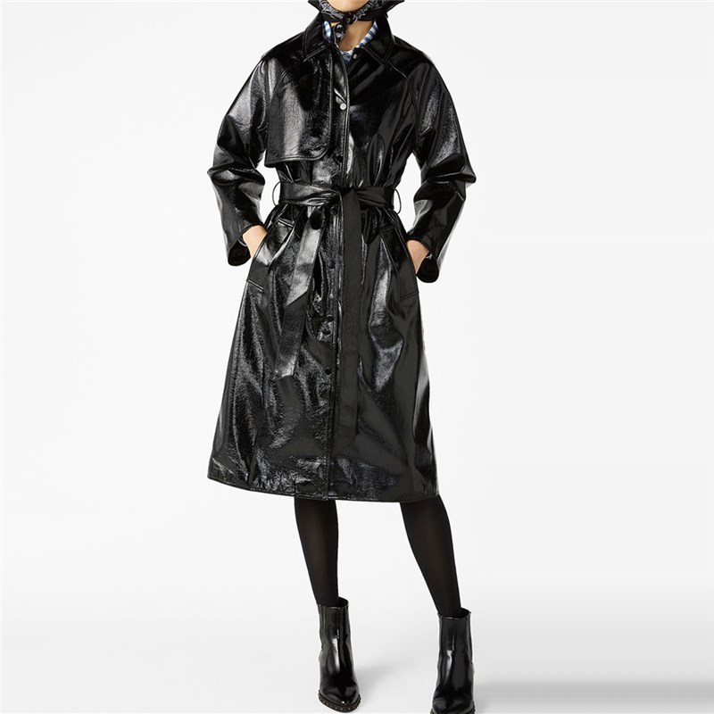spring western style fashion solid color single breasted long sleeve SM L XL XXL woman's Casual Reflective leather Trench coat