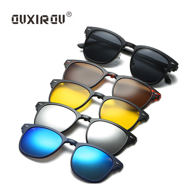 Fashion Eyeglasses Frames Men Women With 5 Clip On Sunglasses Polarized Magnetic Glasses Male Driving Spectacle Trendy 2218A
