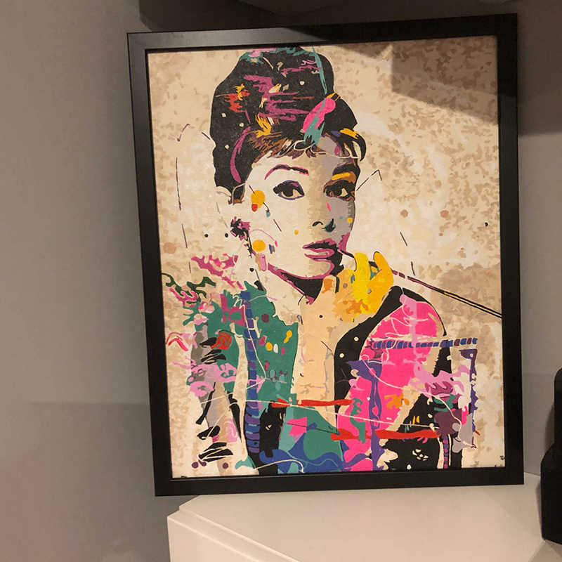 Frameless Wall Decor Pictures Painting By Numbers Hand Painted On Canvas Painting Audrey Hepburn Modern Abstract Oil Painting