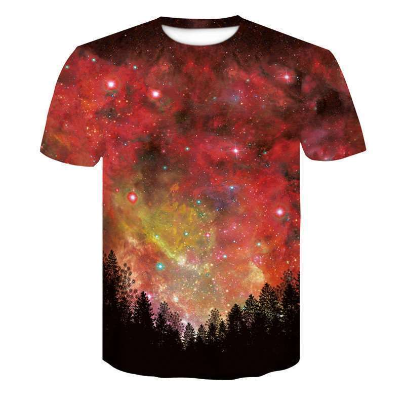 more new Galaxy space printed   shirt     T     shirt   summer creative men of new 3D Short sleeve tee   shirts   female psychedelic clothes