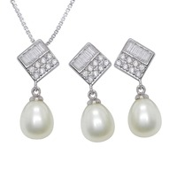 8 9mm Freshwater Pearl Jewelry Sets 100% Guaranteed Real 925 Sterling Silver Jewelry Sets YH40788