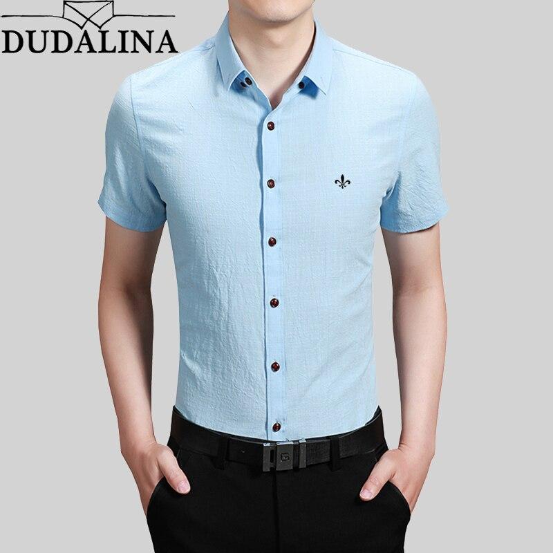 DUDALINA camisa de manga corta 100% algodón color sólido nueva camisa hombres Casual moda Turn-Down Collar Camiseta tamaño m-5XL