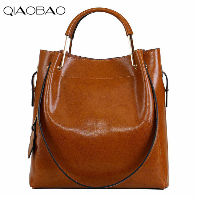 QIAOBAO New Fashion Cowhide Women Messenger Bags Genuine Leather Female Cross Body Bag Casual Women Shopping Totes