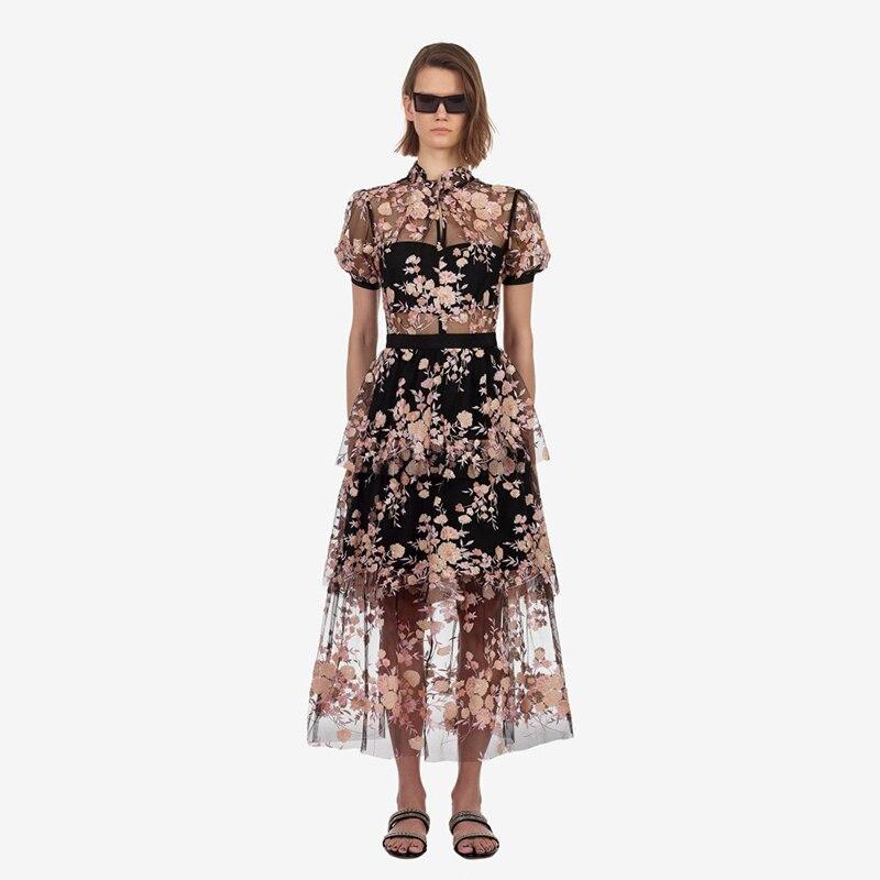 Haute qualité 2019 été piste longue robe femmes élégant maille dentelle Floral broderie Vintage femme vacances robes de fête