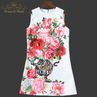 New 2018 Summer Dress Women's Sleeveless Tank Straight Crystal Button Casual Vintage Flower Animal Print Dress Family Clothes