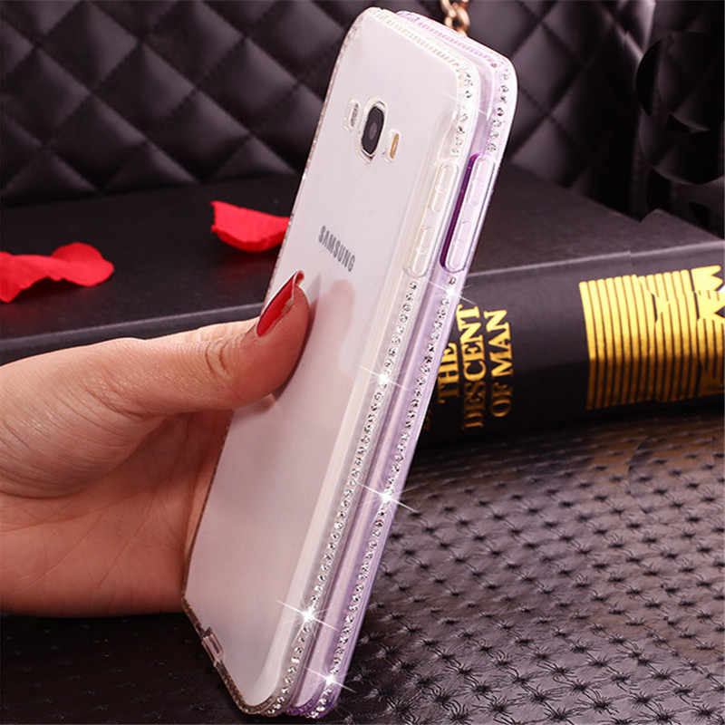 Luxe Diamond Soft TPU voor Samsung Galaxy A3 A5 A7 J3 J5 J7 2016 2017 S6 S7 Edge S8 S9 Plus Grand Prime Gevallen Cover Fundas
