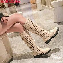 MORAZORA Botas de plataforma plana para mujer, botas femeninas de hasta la rodilla, con agujeros, a la moda, sencillas y sin cordones, para verano, 2020