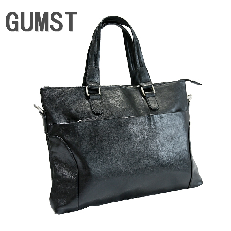 GUMST PU Leather Briefcases Laptop Handbag Men's Business Crossbody Bag Messenger Shoulder Bags For Men
