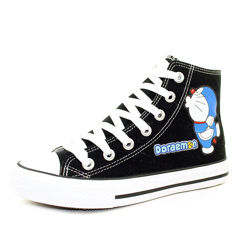 The Doraemon Shoes Women Canvas Shoes Anime Casual Shoes High Top Sneakers for Teenagers