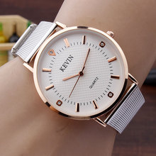 KEVIN Brand Fashion Crystal Women Watches Simple Design Rose Gold Dial Silver Steel Mesh Band Quartz WristWatches Mens Gifts