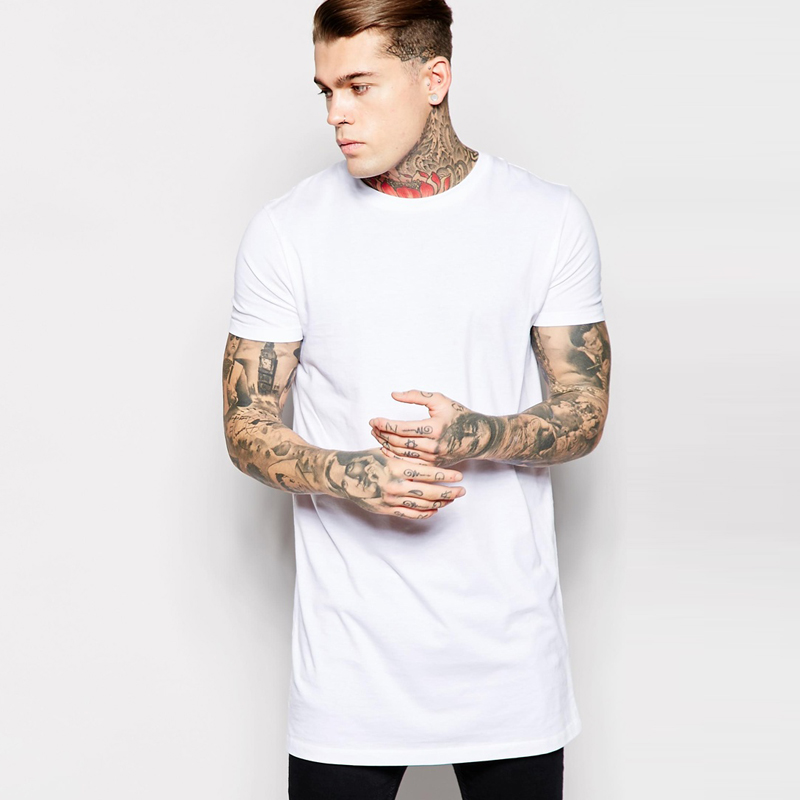 t shirt men 2016 Long Size Black White Mens Tops T Shirt Short ...