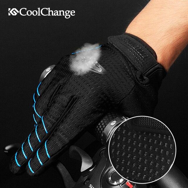 Coolchange luvas de ciclismo dedo cheio luvas de bicicleta tela sensível ao toque à prova de vento esportes homem mulher bicicleta esponja luva à prova de choque 4