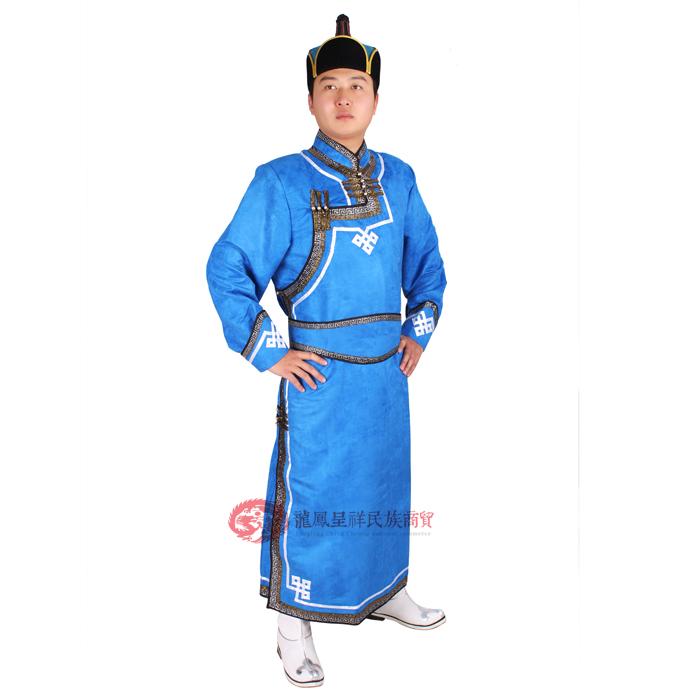 Lelaki Mongolia pakaian rubah mongolia deerskin pakaian bulu biru - Pakaian kebangsaan - Foto 5