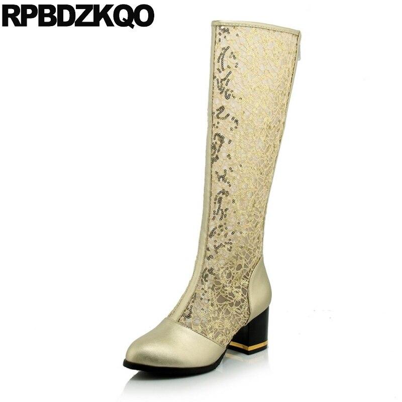 Genou haute 10 sandales découpées grande taille dentelle pas cher chaussures talon longue maille Sequin 43 bottes or été femmes paillettes Chunky découpe