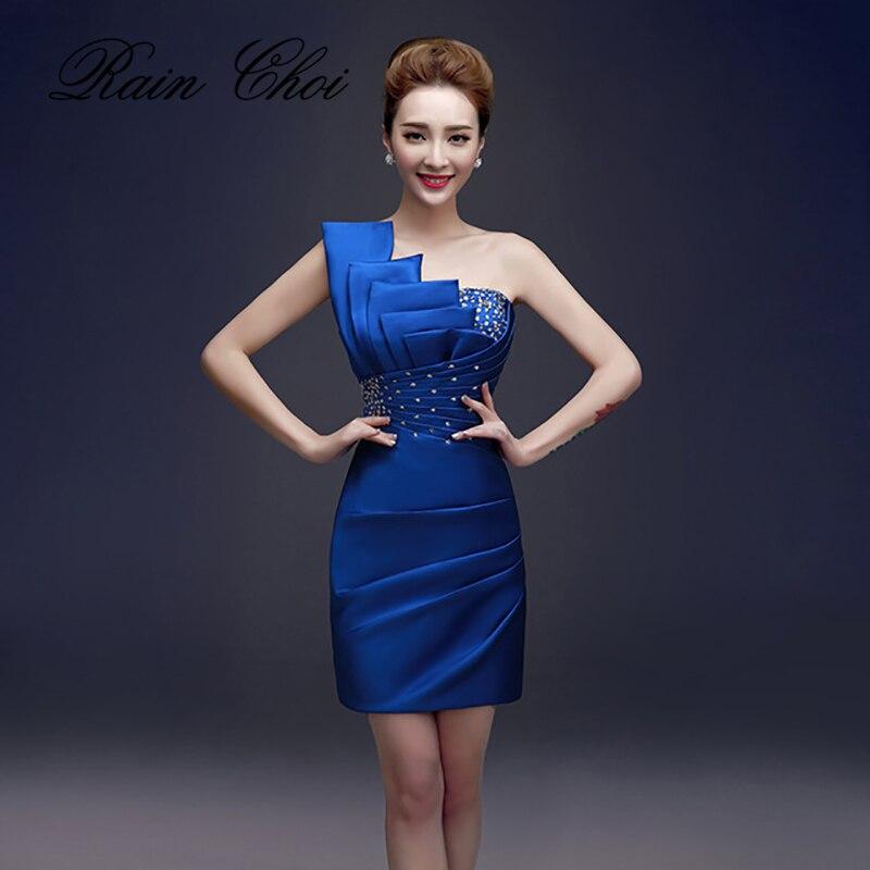 Сексуальное прямое короткое вечернее платье официальное вечернее платье на одно плечо с открытой спиной атласные вечерние платья с бисеро...