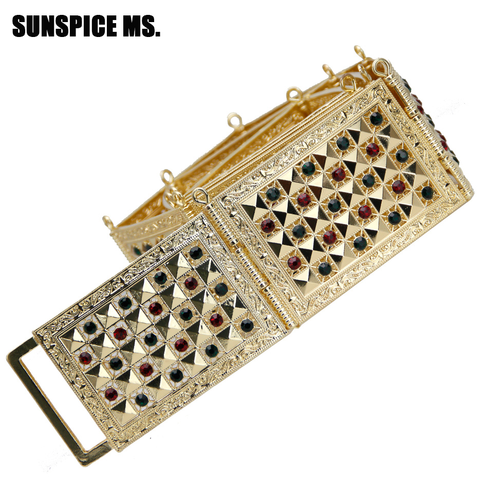 SUNSPICE MS Morocco Caftan Wedding Belt Metal WaistChain Crystal Gold Color Crystal Adjustable Length Square Button Waistband