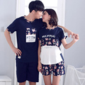 Lovers Sleepwear Summer Cotton Short-sleeve 100% Male Thin Summer Female Autumn Lounge Pyjamas Set Women's Couple Pajama Sets
