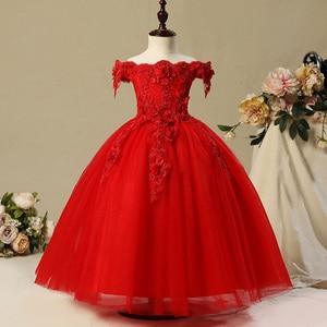 Image 3 - Fleur fille perle décoration longue robe 2020 nouvelle fille mariage fête échange robe balle beauté Sexy épaule robe