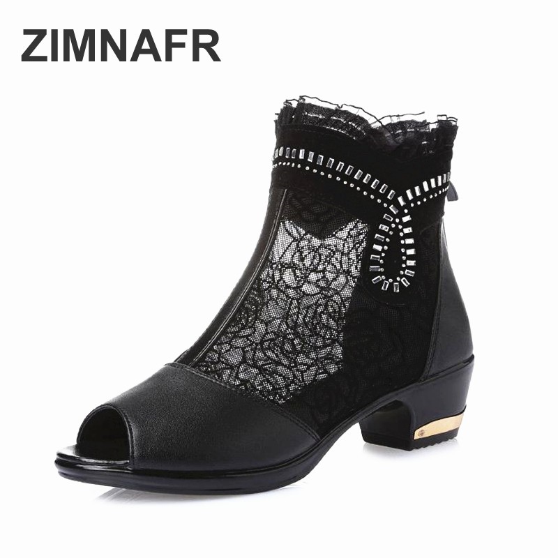 ZIMNAFR BRAND NEW WOMEN SANDALS FISH MOUTH GENUINE LEATHER SANDALS WOMEN HOLLOW MESH SUMMER SHOES PLUS SZIE 35-43 2018 new summer women genuine leather sandals fish mouth high heeled waterproof platform mesh hollow fashion sandals shoes women