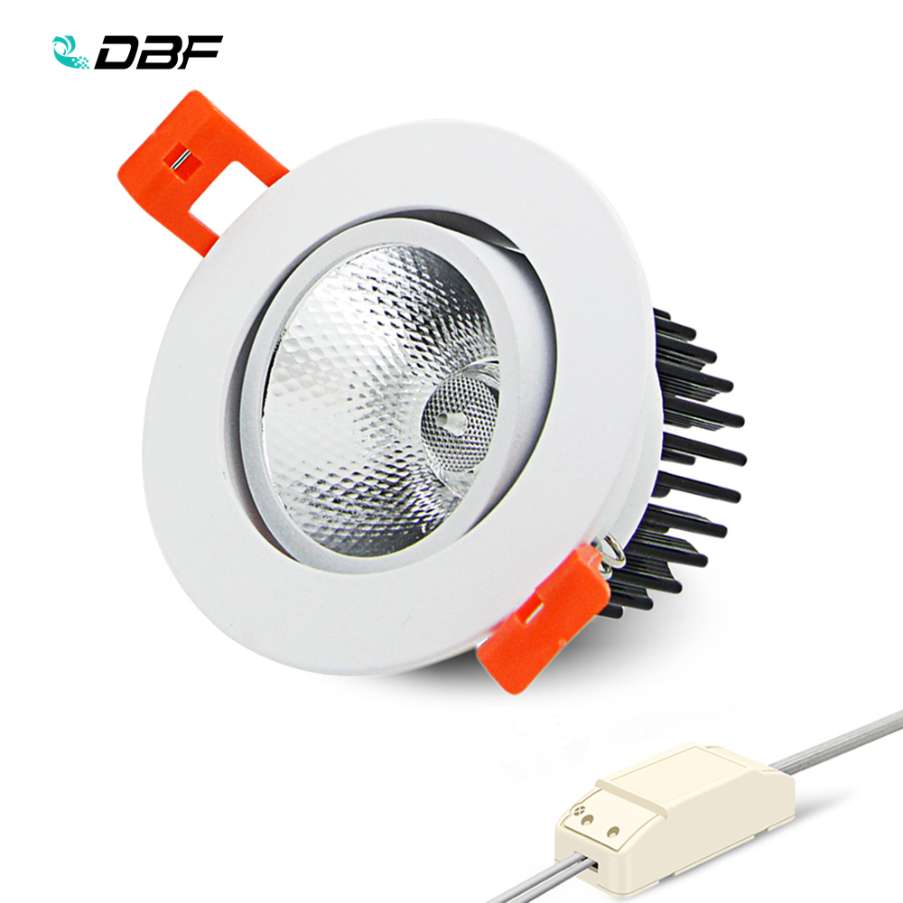 [DBF]Angle Adjustable LED Recessed Downlight Dimmable 7W 9W 12W 15W 18W Epistar COB Chip Ceiling Spot Lamp With 110/220V Driver