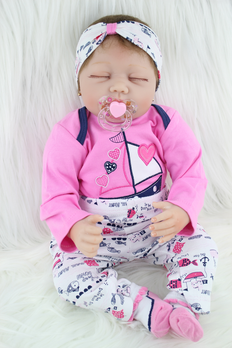 55cm Silicone Reborn Baby Doll Toys For Girl Lifelike Princess Sleeping Babies Dolls Newborn Birthday Gifts Play House Bedtime T