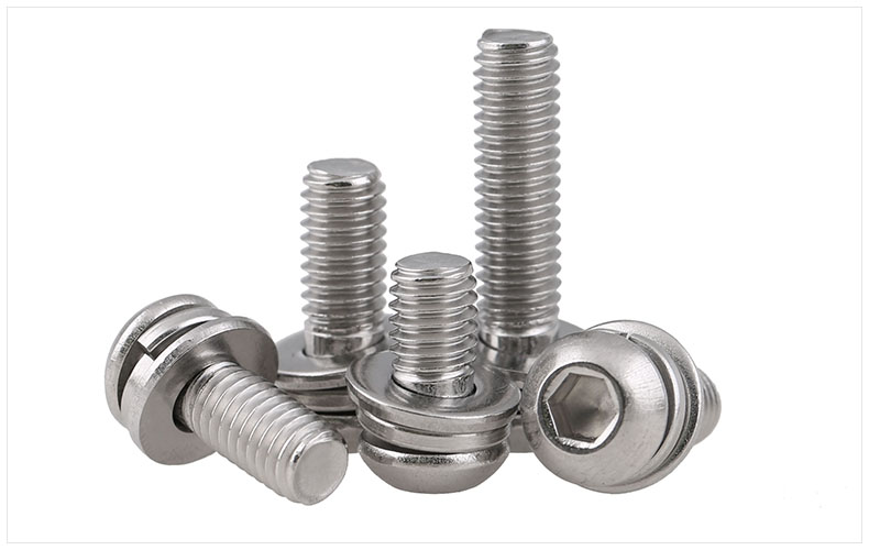 ISO7380 304 stainless steel round head screw hex socket screw three combination M3 M4 M5 M6 screws 50pcs lot iso 7380 m3 x 8 titanium button head hex socket screw