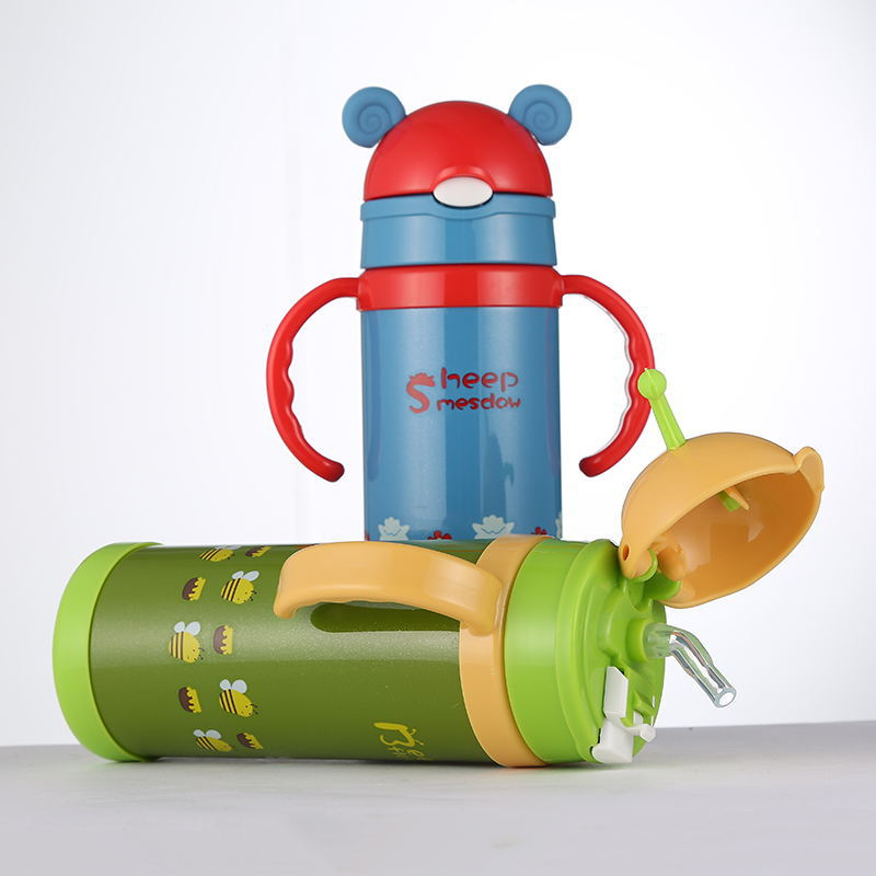 BearCavalier 500ml High Quality Kids Vacuum Flasks With Silicone Straw Stainless Steel Children Thermos Mug Thermal