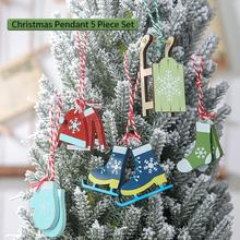5pc Wooden Christmas Pendant Ornaments Decoration Clothes Gloves Socks Sledding Shape Pendant Christmas Tree Decorations sledding