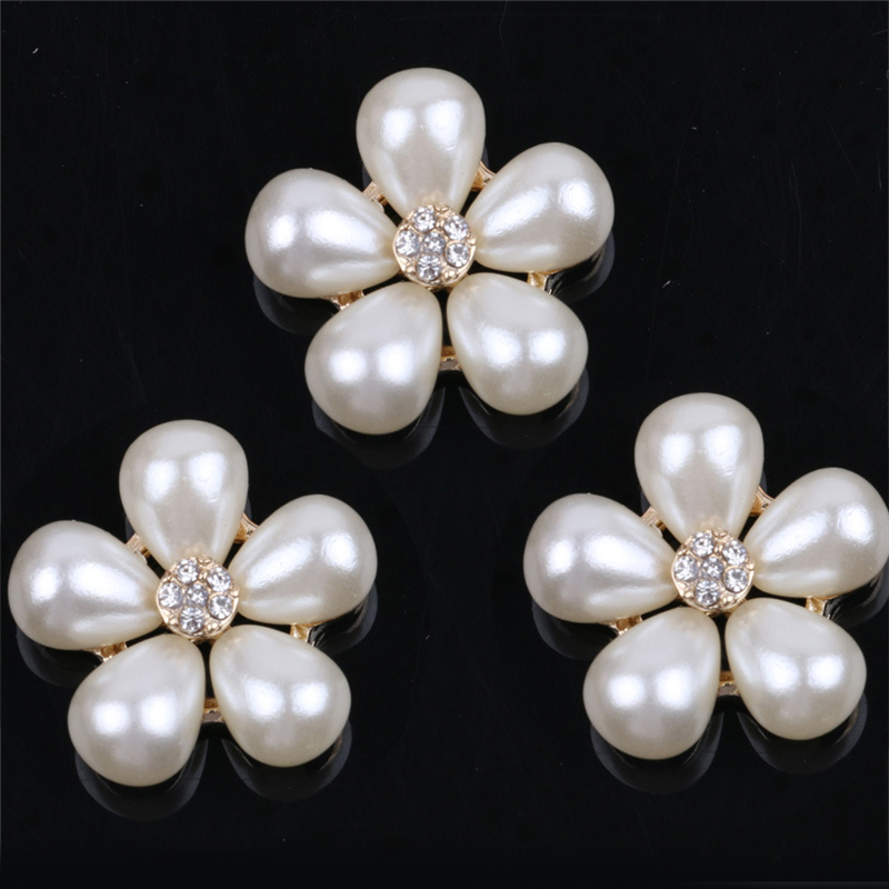 5pcs Flower Design Rhinestones Faux Pearl Decor rhinestone crystal buttons &sewing with rhinestones decorative