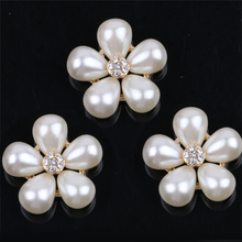 5pcs Flower Design Rhinestones Faux Pearl Decor rhinestone crystal buttons &sewing buttons with rhinestones decorative buttons faux pearl