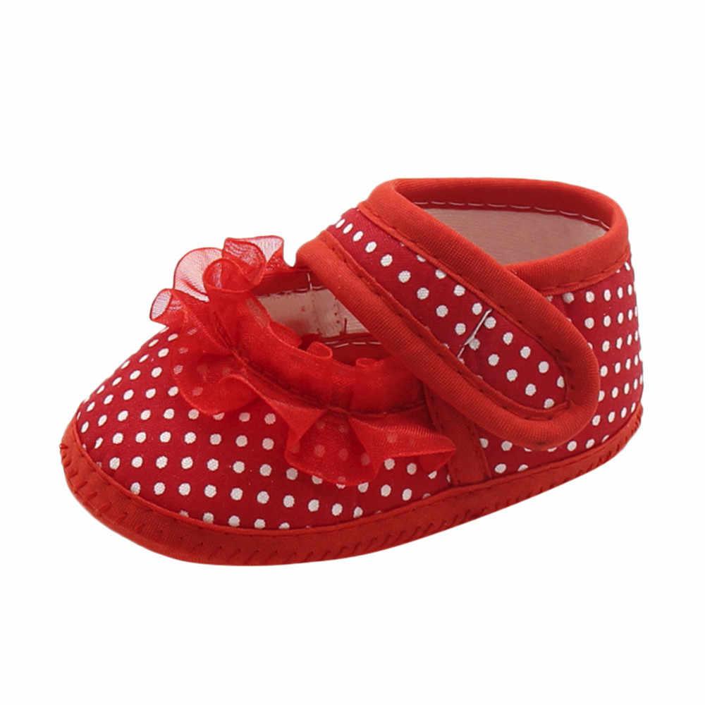 รองเท้าเด็กทารกเด็กหญิง Dot Lace Soft Sole Prewalker สบายๆรองเท้าเด็กแรกเกิด First Walker Sole Anti - Slip รองเท้า @ 40