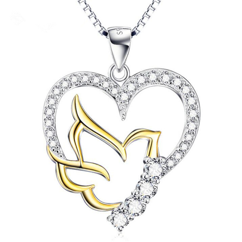 Gold Color Bird Love Heart Necklace Wedding Jewellery Accessories Cute Box Chain Choker Collier 925 Sterling Silver Anniversary