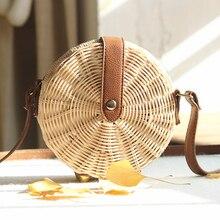 Ручной работы из ротанга сумка богемный Вязание соломы сумки Бали пляжные для женщин круглые женские сумочки из искусственной кожи летние сумки на плечо