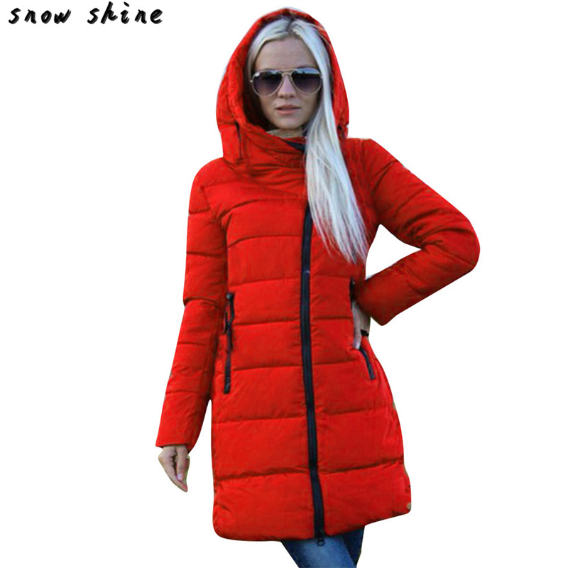 snowshine 3001 Winter Women Ladies Long Quilted Jacket Hooded Coat Parka Padded Outwear Zipper free shipping