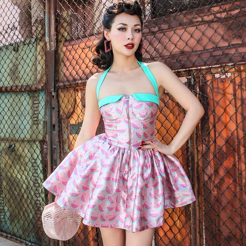 Le palais vintage 2018 Été Vintage Pin Up Corset Type Robe De Bal Robe Mince Taille Haute Licou Type Couleur Contrastée robe imprimée
