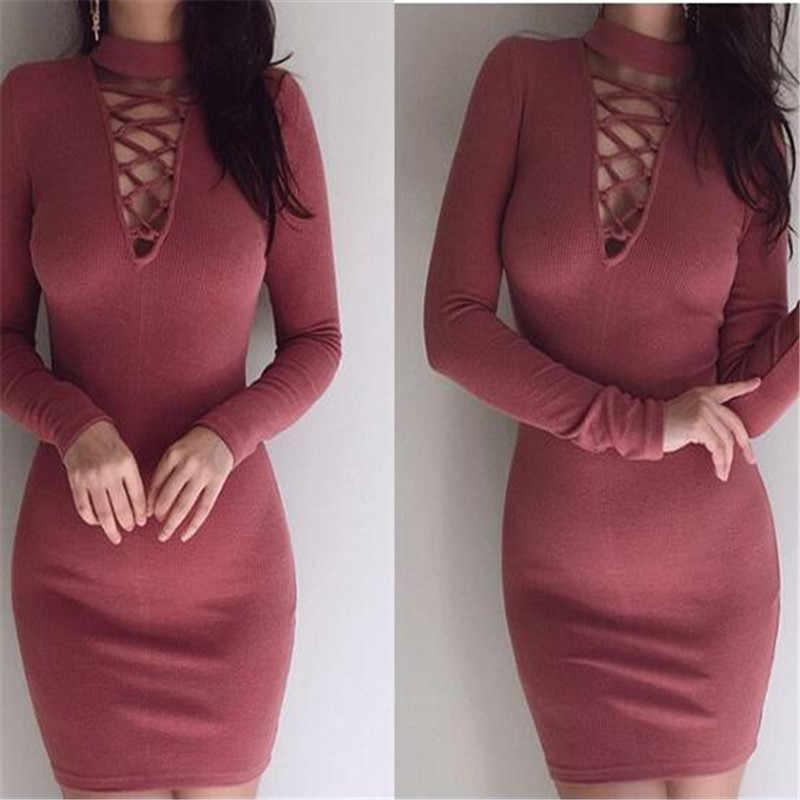 da19a668b6c GLOBAL WAREHOUSE Long Sleeve Sweater Dress Women Winter High Collar Cross  Straps Tight Sexy Bodycon Dresses