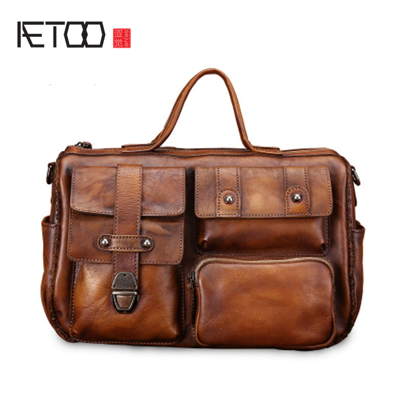 AETOO Retro handbag male leather cross section Korean men's shoulder bag first layer of leather casual diagonal package fashion korean version of the first layer of leather vertical section square shoulder messenger bag in the bag fashion casual tassel lea