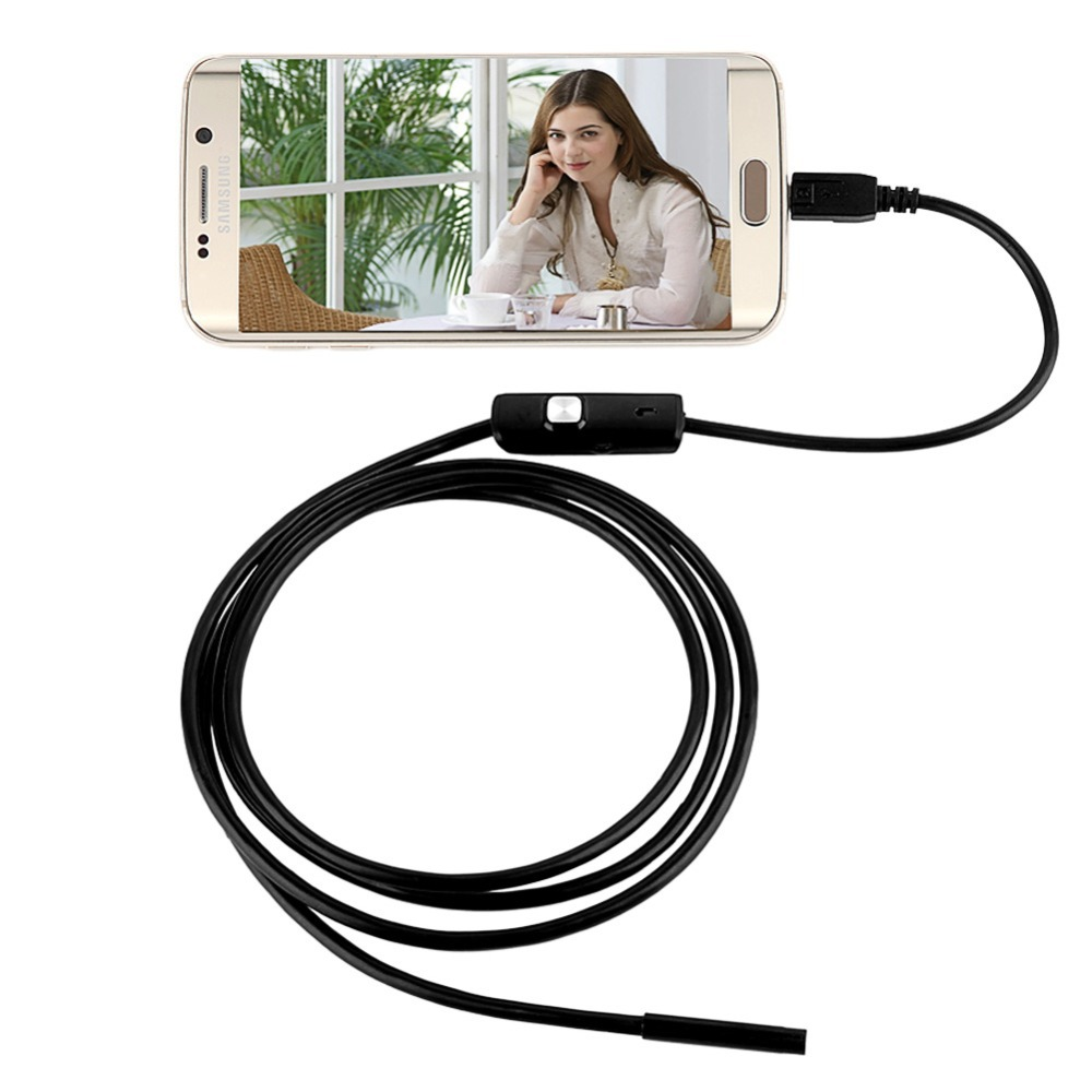 2017 Newest 6 LED 7mm Lens For Android Endoscope Waterproof Inspection Borescope Tube USB 1M Endoscope Camera 7mm lens mini usb android endoscope camera waterproof snake tube 2m inspection micro usb borescope android phone endoskop camera