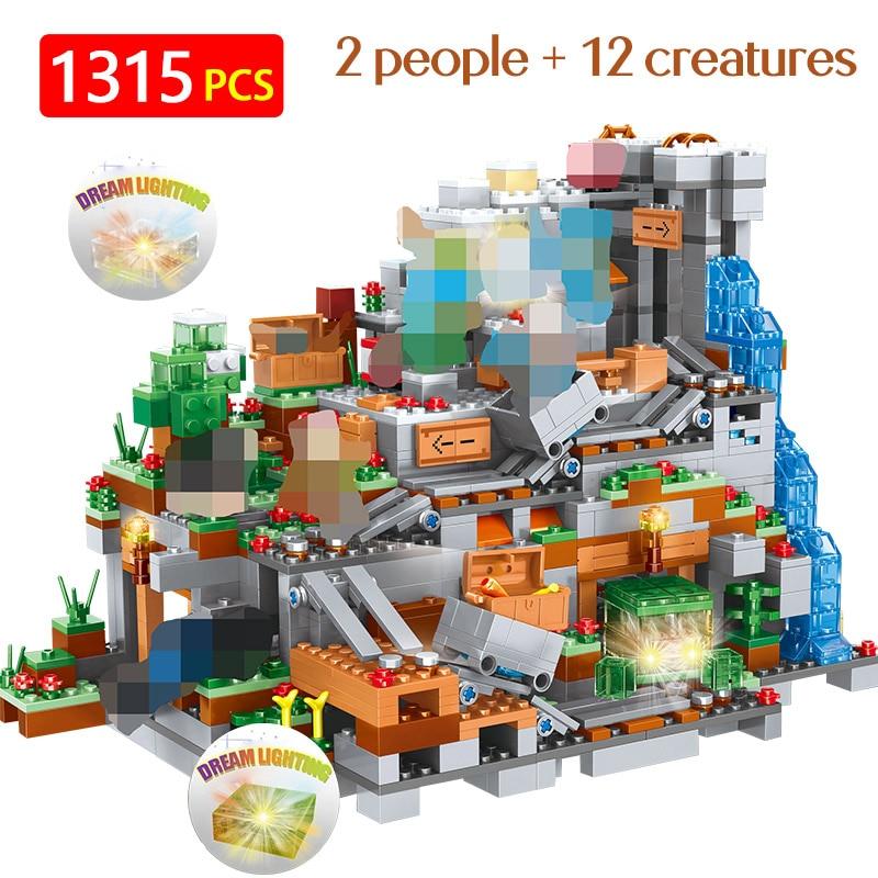 Nouveaux blocs chauds mon monde Compatible LegoINGLYS Minecrafted 3D lumière organes de la grotte château Village série jouets pour garçons