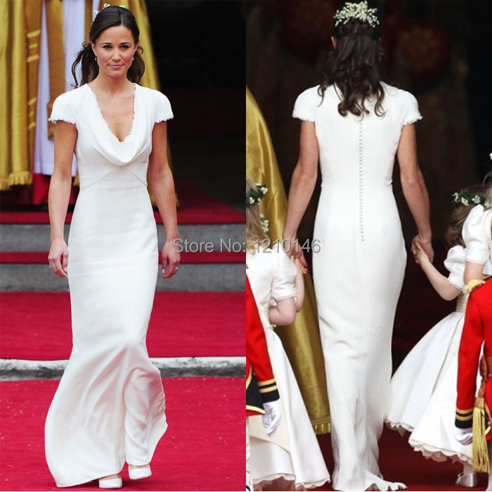 2017 V Neck Long Satin White Mermaid Pippa Middleton Bridesmaid Dress In Dresses From Weddings Events On Aliexpress Alibaba Group