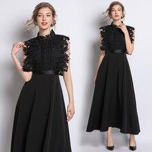 فستان سهرة أنيق من الشيفون الراقي وزهور من الدانتيل